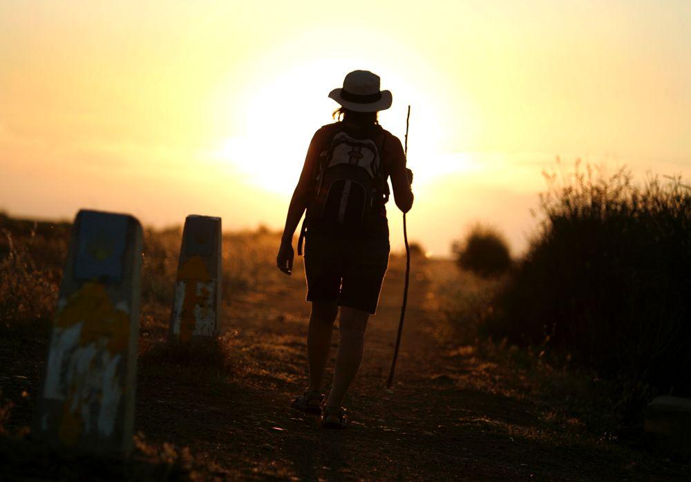 pic camino de santiago pilgrim sunset